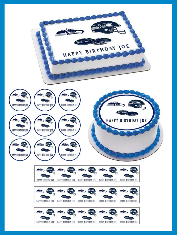 SEATTLE SEAHAWKS Edible Birthday Cake Topper OR Cupcake Decor