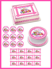 SHOPKINS 4 Edible Birthday Cake Topper OR Cupcake Topper, Decor - Edible Prints On Cake (Edible Cake &Cupcake Topper)