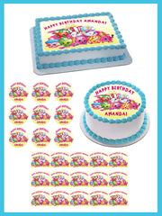 Shopkins 5 Edible Birthday Cake Topper OR Cupcake Topper, Decor