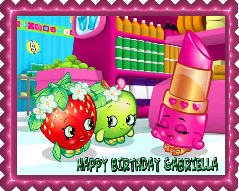 SHOPKINS 1 Edible Birthday Cake Topper OR Cupcake Topper, Decor - Edible Prints On Cake (Edible Cake &Cupcake Topper)