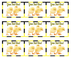 Small Chickens - Edible Cake Topper, Cupcake Toppers, Strips