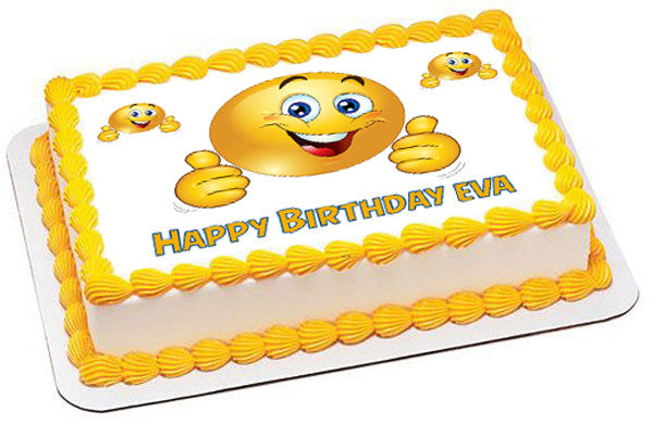 Smile Face Edible Birthday Cake Topper OR Cupcake Decor