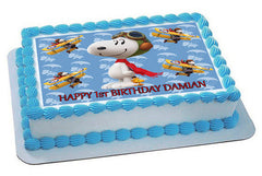 Snoopy Flying Ace Edible Birthday Cake Topper OR Cupcake Topper, Decor
