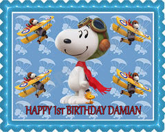 Snoopy Flying Ace - Edible Cake Topper OR Cupcake Topper, Decor