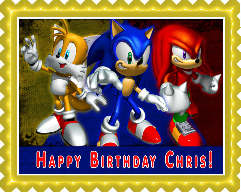 Sonic The Hedgehog Running Edible Cake Topper Frosting 1 4 Sheet Birthday Party