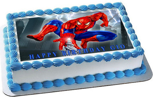 SPIDERMAN 1 Edible Birthday Cake OR Cupcake Topper ...