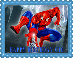 SPIDERMAN 1 Edible Birthday Cake Topper OR Cupcake Topper, Decor