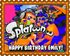 Splatoon Edible Birthday Cake Topper OR Cupcake Topper, Decor - Edible Prints On Cake (Edible Cake &Cupcake Topper)