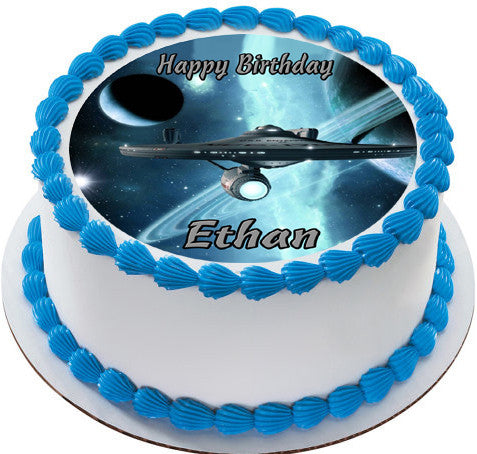 Star Trek Edible Birthday Cake Topper OR Cupcake Decor