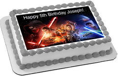 Star Wars 7 Force Awakens 2 Edible Birthday Cake Topper OR Cupcake Topper, Decor - Edible Prints On Cake (Edible Cake &Cupcake Topper)