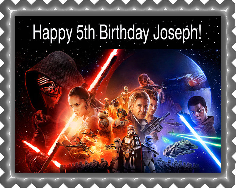 Star Wars 7 Force Awakens 2 Edible Birthday Cake Topper OR Cupcake Topper, Decor