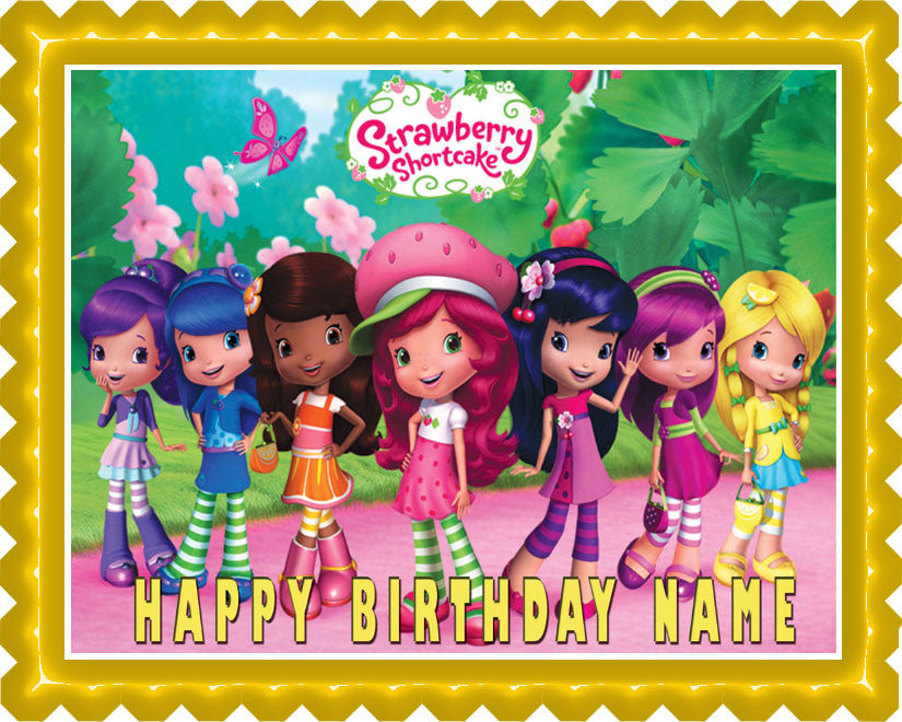 Awe Inspiring Strawberry Shortcake Edible Cake Or Cupcake Topper Edible Prints Funny Birthday Cards Online Elaedamsfinfo