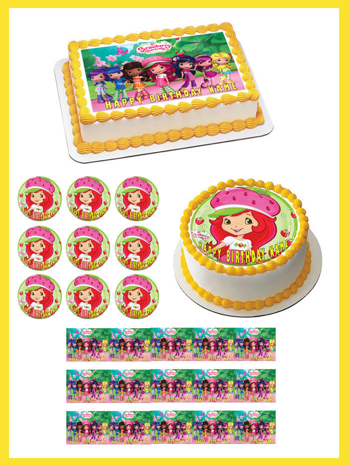 Astonishing Strawberry Shortcake Edible Cake Or Cupcake Topper Edible Prints Funny Birthday Cards Online Elaedamsfinfo