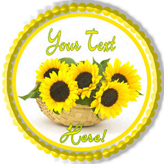 Sunflower in a Basket - Edible Cake Topper, Cupcake Toppers, Strips