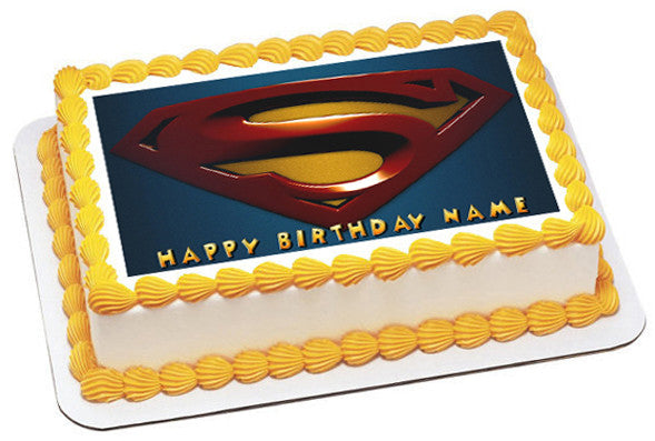 SUPERMAN LOGO Edible Birthday Cake Topper OR Cupcake Decor