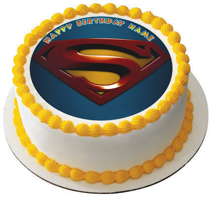 SUPERMAN LOGO Edible Birthday Cake OR Cupcake Topper ...