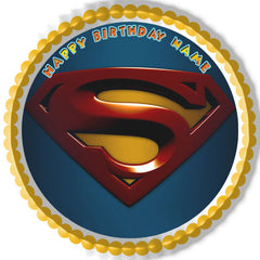 SUPERMAN LOGO Edible Birthday Cake Topper OR Cupcake Topper, Decor