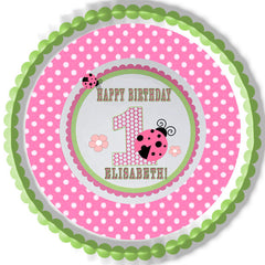 Sweet Lady Bug Edible Birthday Cake Topper OR Cupcake Topper, Decor
