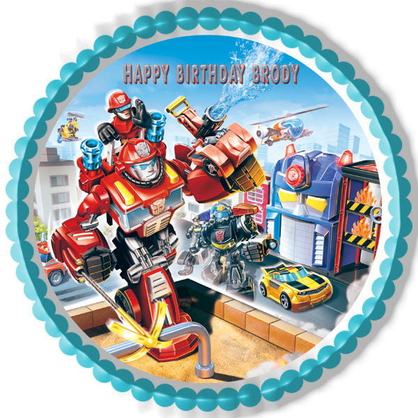 Transformers Rescue Edible Birthday Cake Topper OR Cupcake Decor