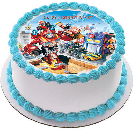 transformers wedding cake toppers transformers rescue edible cake or cupcake topper edible 21240