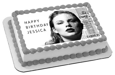 Taylor Swift 2 Edible Birthday Cake Topper OR Cupcake Topper, Decor
