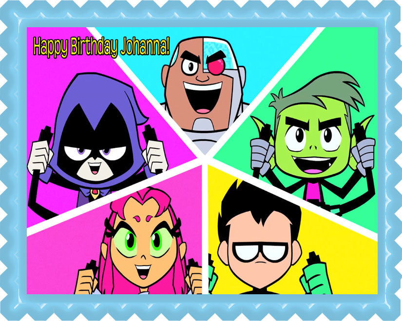 Teen Titans Go (Nr4) - Edible Cake Topper OR Cupcake Topper, Decor