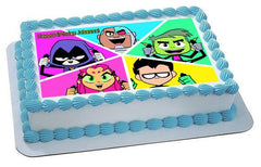 Teen Titans Go 4 Edible Birthday Cake Topper OR Cupcake Topper, Decor - Edible Prints On Cake (Edible Cake &Cupcake Topper)