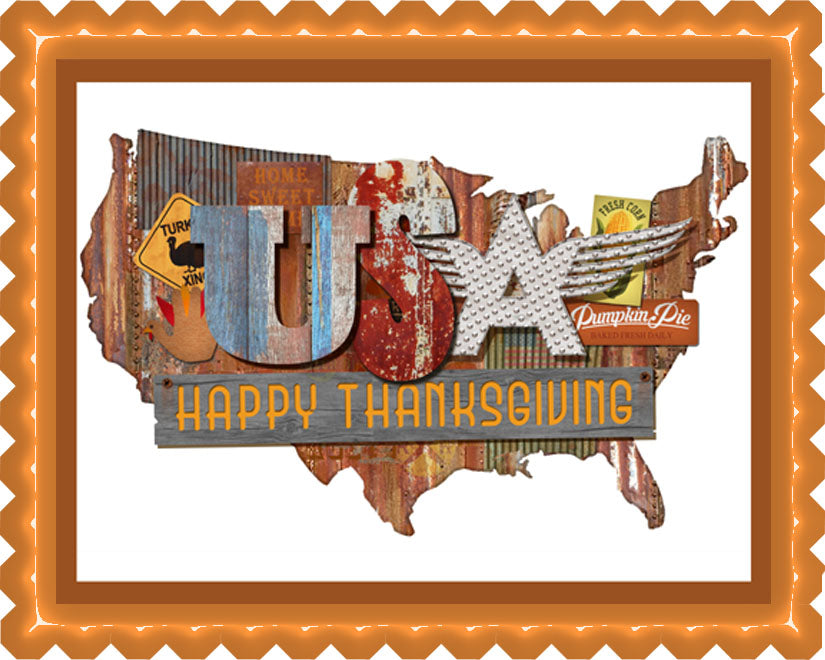 Thanksgiving American Folk - Edible Cake Topper, Cupcake Toppers, Strips