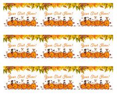 Thanksgiving Dogs and Cats With Falling Leaves - Edible Cake Topper OR Cupcake Topper, Decor