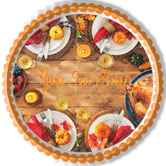 Thanksgiving V - Edible Cake Topper OR Cupcake Topper, Decor