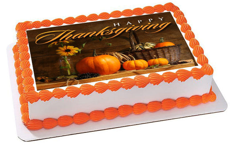 Excellent Thanksgiving Edible Cake Topper Cupcake Toppers Edible Prints Personalised Birthday Cards Veneteletsinfo