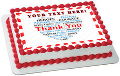 Thank you Heart for Covid-19 Nurses and Healthcare - Edible Cake Topper, Cupcake Toppers, Strips