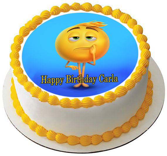 The Emoji Movie Edible Birthday Cake Topper OR Cupcake Decor