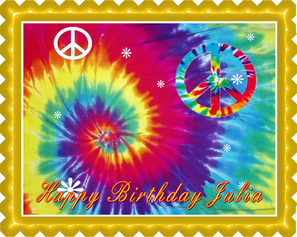 tie dye peace edible birthday cake or cupcake topper