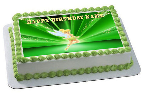 TINKER BELL Edible Birthday Cake Topper OR Cupcake Topper, Decor