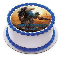 TITANFALL Edible Birthday Cake Topper OR Cupcake Topper, Decor