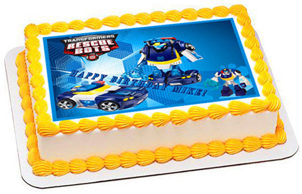 Transformers Rescue Bots 5 Edible Birthday Cake Topper OR Cupcake Decor