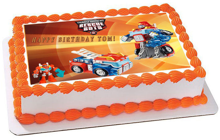 Fabulous Transformers Rescue Bots 6 Edible Cake Or Cupcake Toppe Edible Funny Birthday Cards Online Alyptdamsfinfo