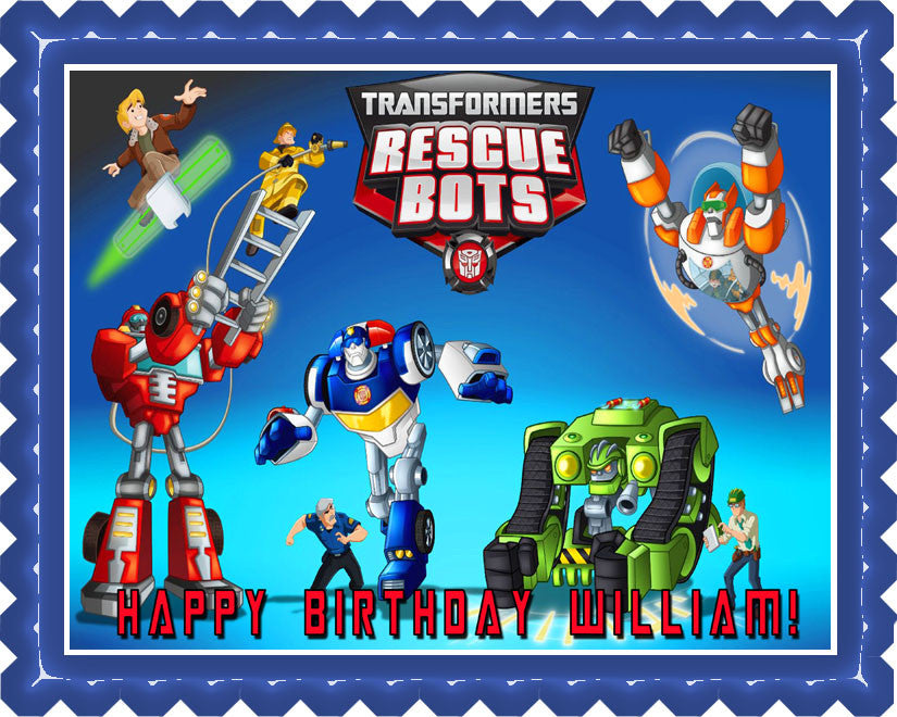 Transformers Rescue Bots 1 Edible Birthday Cake Topper OR Cupcake