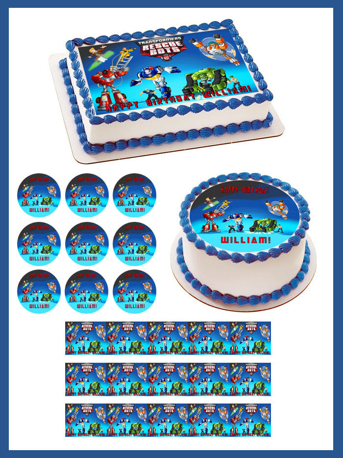 Transformers Rescue Bots 1 Edible Birthday Cake Topper OR Cupcake Topper,