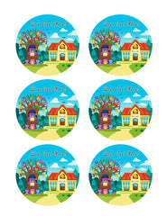 Tree with Stylized School Owl - Edible Cake Topper, Cupcake Toppers, Strips