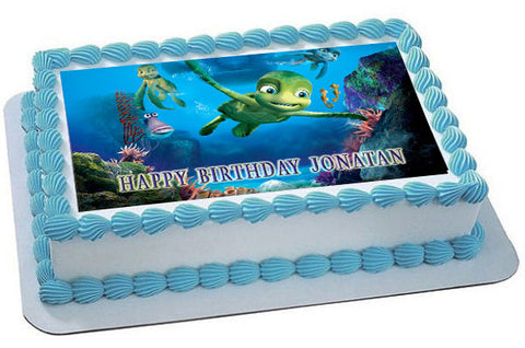 Turtles Tale Edible Birthday Cake Topper OR Cupcake Decor