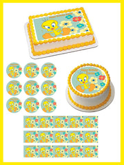 Tweety Bird Edible Birthday Cake Topper OR Cupcake Topper, Decor