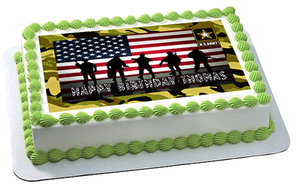 US ARMY Edible Birthday Cake OR Cupcake Topper   Edible ...
