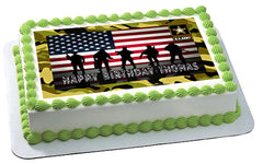 US ARMY Edible Birthday Cake Topper OR Cupcake Topper, Decor - Edible Prints On Cake (Edible Cake &Cupcake Topper)