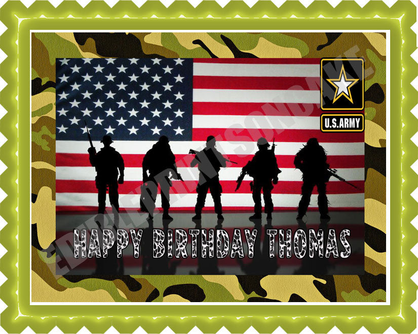 US ARMY Edible Birthday Cake OR Cupcake Topper Edible Prints On
