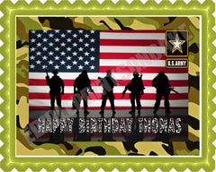 US ARMY Edible Birthday Cake Topper OR Cupcake Topper, Decor