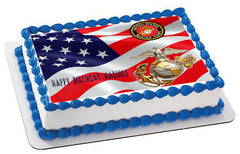 US Marine Corp Edible Birthday Cake Topper OR Cupcake Topper, Decor