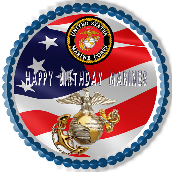 Us Marine Corp Edible Birthday Cake Or Cupcake Topper