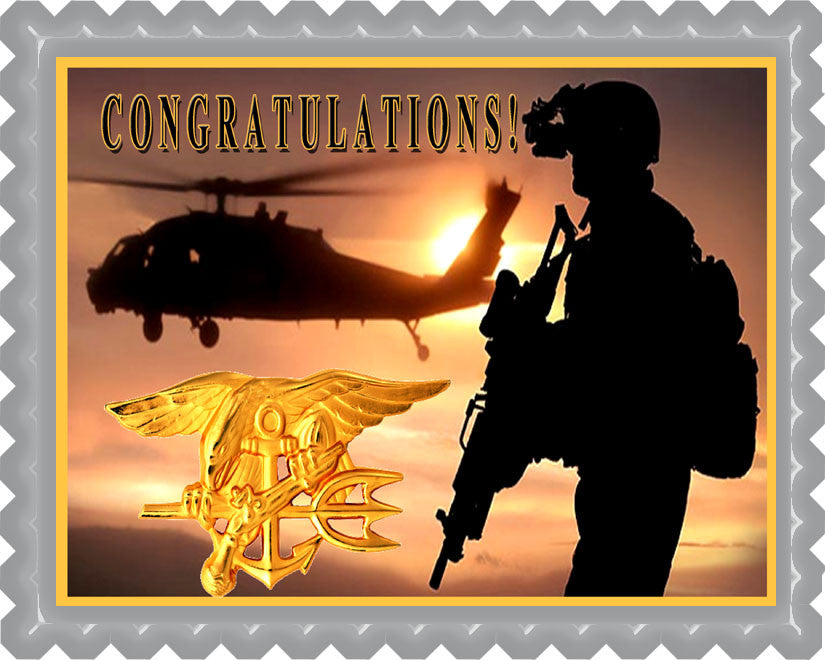 US Navy Seal - Edible Cake Topper OR Cupcake Topper, Decor
